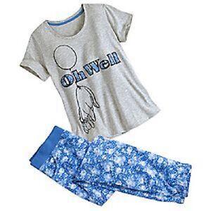 Disney Eeyore Ladies 2 Piece Pajamas PJ Set Pants Shirt Gray Blue New 2016