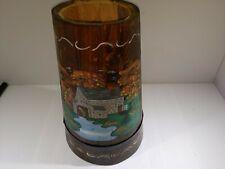 Wooden Butter Churn Bucket Lid Wood Hand Painted Landscape