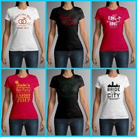 Ladies Personalised Hen Do Night Party Custom Print Womens Crew Neck T-Shirt Top