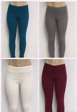 Ladies Cotton Spandex Rib Knit Legging Pant Sizes S-M-L-XL 4 Colors NWT 1700S
