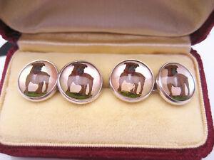Antique Art Deco era Sterling Silver Crystal Intaglio Enamel Bull Dog Cufflinks