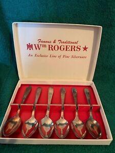 SET OF 6 Wm ROGERS Burgundy Champagne 1934 DEMITASSE SPOONS In Box