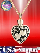 New Two Hearts Urn Cremation Pendant Ash Holder Memorial Necklace