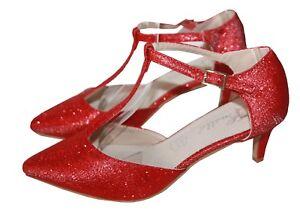 Sera Cinturino Scarpe da Ballo Décolleté Piccola Tacco Rosso con Glitter M915