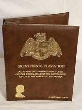 23 KARAT GOLD GREAT FIRSTS IN AVIATION STAMP COLLECTION IN BOOK