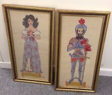 Knight Suit of Armor Maiden Needlepoint Complete Framed Wall Hanging Renaissance