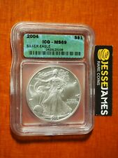 2004 $1 AMERICAN SILVER EAGLE ICG MS69 GREEN LABEL