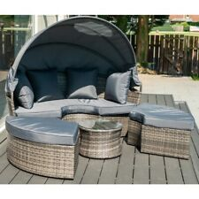 More details for layla grey garden rattan furniture daybed with footstool and coffee table