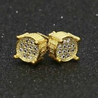 Hip Round Simulated Lab Diamond Mens Earrings Stud ICED Plated OUT Hop Gold
