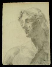 Dessin académique 1900 Phidias Parthénon antique atelier étude fusain ancien