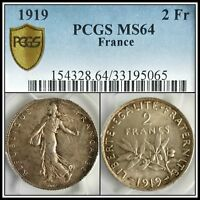 1919 France 2 Francs PCGS MS64 Silver Unc Semeuse Sower Uncirculated Coin