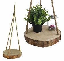 Baumscheibe zum Hängen - Ø 32cm - Deko Hänge Tablett Astscheibe Holz Blumenampel