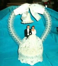 "Vintage Bride & Groom Lace, ""Cake Topper"" Decorated w/Faux Pearls"