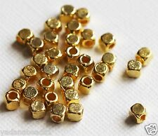 100 Gold plated square cube beads 4mm