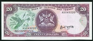 Trinidad & Tobago 20$ 1985 Arms Issue with Hummingbird & Flowers P39a UNC