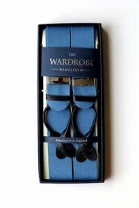 Albert Thurston for The Wardrobe Braces Blue Saxe Wool boxcloth