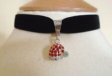 Black Velvet Choker & Red Rhinestone Santa's Hat Christmas Necklace Red Pendant