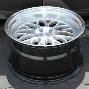 18 Inch ESR SR01 Wheels Silver Machined Deep Lip 18x10.5 5x100 +22 Rims Set 4