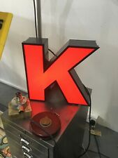 RECLAIMED VINTAGE INDUSTRIAL ILLUMINATED SHOP SIGN WALL ART - LETTER K