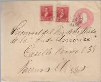 1897 Argentina Buenos Aires Postal Stationery Cover With additional Postage