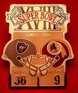 Vintage NFL Super Bowl XVIII (18) Starline Collector Set Pin: Raiders v Redskins