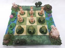 Child's Tic Tac Toe Game Board With Turtle & Rabbit Movable Pieces Table Decor
