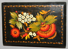 VINTAGE RUSSIAN HAND PAINTED FLOWERS WOOD BOX