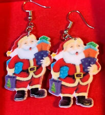 """Traditional Santa Claus With Gifts Dangle Hook Earrings Silver tone New  2"""""""