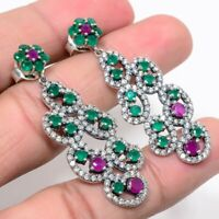 Natural Zambian Emerald Ruby Earrings 925 Sterling Silver Handmade Fine Jewelry
