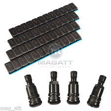 8 KLEBEGEWICHTE Auswuchtgewichte 12x5g + 4 Metallventile Stahlventile SCHWARZ