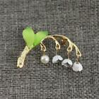 Lily Of The Valley Enamel Brooch Vintage Green Leaf Pin for Women Party LP
