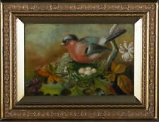 More details for early 20th century oil - finch with eggs