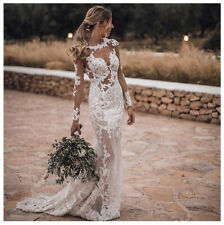 See Through Lace Appliques Wedding Dress White/Ivory Mermaid Bridal Gown Custom