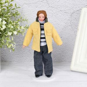 1:12 Dollhouse Miniature Porcelain Doll Model Yellow Jacket Youth Doll HouseWFI