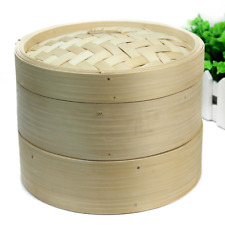 Bamboo Steamer Fish Dim Sum 2 Tier Basket Rice Pasta Set Meat Cooking Steamers