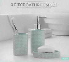 Stripped Bathroom Accessory 3 Choose Toilet Brush Soap Dish Dispenser &tumbler 4 Light Blue