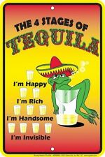 The 4 Stages of Tequila - 8x12 metal sign -