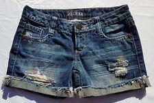 Womens Decree Shorts Blue Jean Denim Size 1 Distressed Gold Cuffed  Juniors