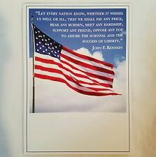 Military Support Greeting Card Patriotic American Flag John F. Kennedy