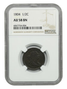 1804 1/2c NGC AU58 BN (Cross. 4, Stems) Early Half Cent Type Coin