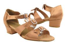 Women's West Coast Swing Dance Shoes Size 7 low Heel 1.5 Brown Satin 1679