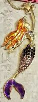Betsey Johnson Hot Gorgeous Crystal Purple Mermaid Fish Pendant Necklace