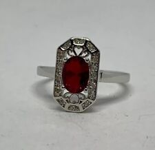 Zirconia Accent Stone Ring Size 9 Silver Plated Oval Ruby Clear Cubic