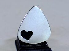 Aluminum guitar pick with heart cut out