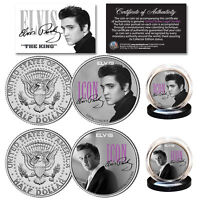 ELVIS PRESLEY Icon Collection Official JFK Kennedy U.S. Half Dollar 2-Coin Set