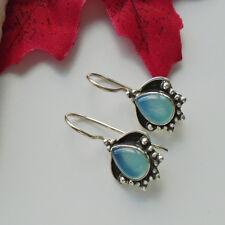 Chalcedon, blau edel elegant nostalgisch Ohrringe Ohrhänger 925 Sterling Silber