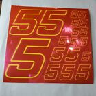 PINK CHROME w/Yellow  #5's Decal Sticker Sheet DEFECTS  1/8-1/10-1/12 RC Mo BoxD