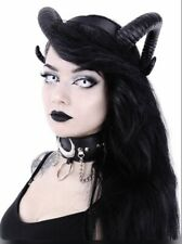 Restyle Sinister Black Ram Horns Hairband Headpiece Demon Satan Gothic Wicca