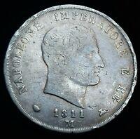 Italie. Napoléon 1er  5 Lire 1811 M