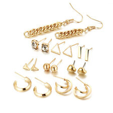 9 pairs of studs gold triangle hoop heart drop balls earrings pack discount